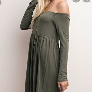 Mittoshop bamboo off the shoulder dress sz M NWT